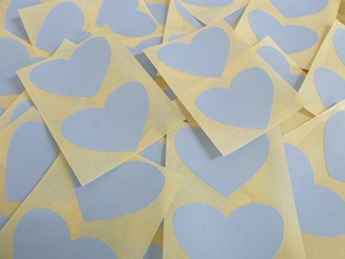 50x37mm Pálido Azul Cielo Con Forma De Corazón Etiquetas, 40 auta-Adhesivo Código De Color Adhesivos, adhesivo Corazones para Manualidades y Decoración