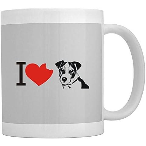 Teeburon I love Jack Russell Terrier SIlhouette Tazza