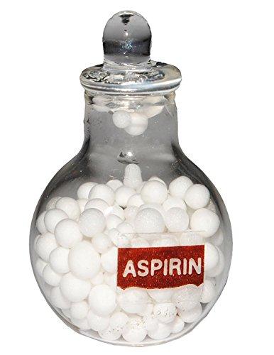 Preisvergleich Produktbild 1 Stück _ Glas mit Aspirin / Kopfschmerztabletten - Miniatur für Puppenstube Maßstab 1:12 - Puppenhaus Puppenhausmöbel - Wohnzimmer Tabletten - Tablettendose Medikament - Badezimmer Deko Diorama - Medikamente / Prüfung - Kopfschmerzen