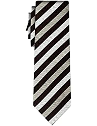cravate soie rayée stripe 1cm black white silver