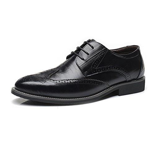 HYF Männer echtes Leder Brogue Schuhe Wingtip Hohl schnitzen Lace Up Block Ferse Business gefüttert Oxfords Driving Schuhe Schuhe anziehen (Color : Schwarz, Größe : 41 EU) Schwarz Wingtip