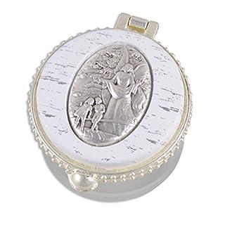 Ars-Bavaria zur ersten heiligen Kommunion, zur Taufe, zur Hochzeit zarter Rosenkranz mit schimmernden weissen Perlen im runden Schutzengel Döschen