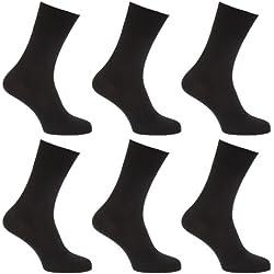 Calcetines para diabeticos sin elástico pero se mantiene arriba para hombre/caballero - Pack de 6 pares de calcetines (39-45 EUR/Negro)