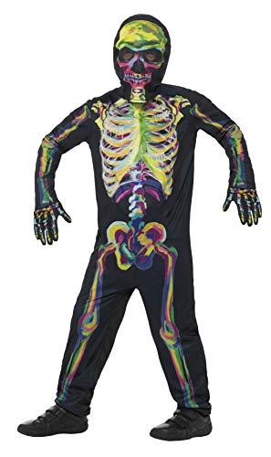 Leuchtet Kostüm Skelett Im Dunkeln - Smiffys, Kinder Unisex Skelett Kostüm, Leuchtet im Dunkeln, Ganzkörper Anzug, Maske und Handschuhe, Alter: 4-6 Jahre, 45124