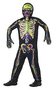 Smiffys-45124S Disfraz de Esqueleto Que Brilla en la Oscuridad, con Traje Entero, m, Multicolor, S-Edad 4-6 años (Smiffy