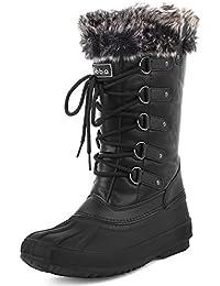 Sibba Femme Bottes de Neige Mi-mollet Chaussures Imperméable Bottes d'hiver Fourrure Doublé Boots à Lacet