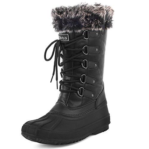 Sibba Women Mid Calf Snow Boots Waterproof Fur Lined Winter Boot UK...