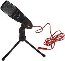 Micrófono-THZY 3.5mm Micrófono de sonido condensador de conexión de toma de audio con trípode para ordenador portátil (Negro)