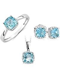 [Sponsored]RM Jewellers 92.5 Sterling Silver American Diamond Princess Pendant Set For Women