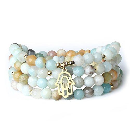 Coai bracciale collana 108 perle mala in amazzonite sfaccettata con medaglieta mano di fatima in acciaio inox dorato