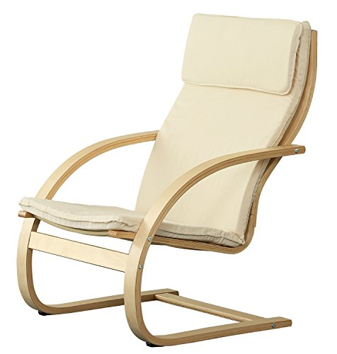 Orolay Schwingstuhl Schaukelstuhl Relaxstuhl Relaxsessel Weiß (Perfekte Liege Leder Stuhl)