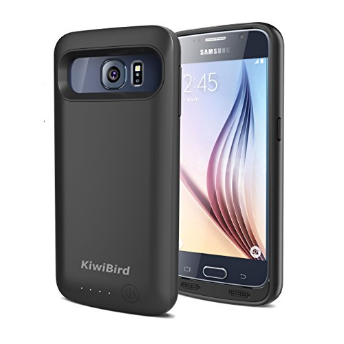 KiwiBird® 4000mAh Externer Akku Hülle / Ladehülle (Schützende Hartschale mit Integrierten Zusatzakku, 140% Extra Power) für Samsung Galaxy S6 - Matt Schwarz