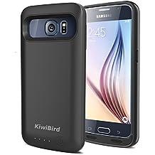 KiwiBird® Samsung Galaxy S6 Batería Cargador Funda - 4000mAh Protector Recargable Backup External Batería Cargador Funda para Samsung Galaxy S6 - NEGRO (NO va a caber el Samsung Galaxy S6 Edge & Active )