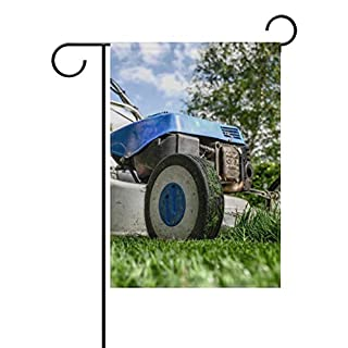 MONTOJ Blue Lawnmower Picture front yard flag double sides printed multi-pattern