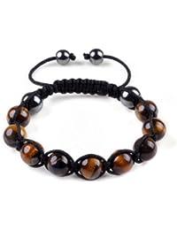 Shamballa bracelet oeil de tigre brun de pierre - Bracelet Femme et Hommes Bracelet Macrame Wrap perle