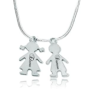 Pugster Bijoux Argent Fin 925/1000 Sterling Silver Separable Puzzle Dangle Topaz Yellow Red Birthstone Cristaux Personalized Names Custom Pendentif Collier Homme PDCL_HARRY_SALLY