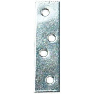 Bulk Hardware BH01142 Zinc Plated Straight Repair Brackey Braces Plates, 75 mm (3 inch) - Pack of 10