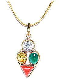 Leo Zodiac Rudra Divine Self Certified Multicolor 100% Original Semi Precious Gemstone Prosperity Pendant For...