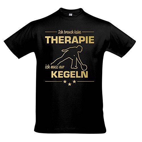 T-Shirt - Therapie - Kegeln - Sport FUN KULT SHIRTS S-XXL , Deep black - gold , XXL -