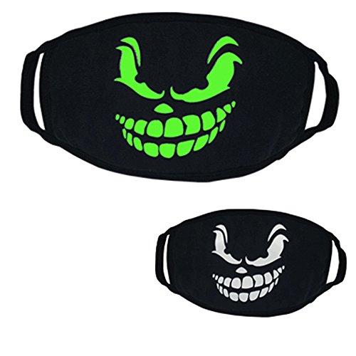Rave Themen Kostüm - Spielzeug -Artistic9 Mundmaske Glow In The Dark Cosplay Lustige Zähne Drucken Rave Masken Sicher Atmungsaktiv Kein Geruch für Männer Frauen Halloween Maskerade Maske Thema Party Supplies