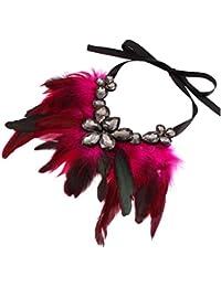 Tinksky Lágrima cristal pluma collar cadena mujeres Partido collar (rosa roja)
