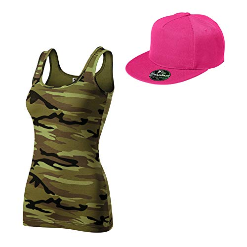 Hip Hop Kombi Tanktop Cap Hat Cool Club (Camouflage grün Purpur, Large)