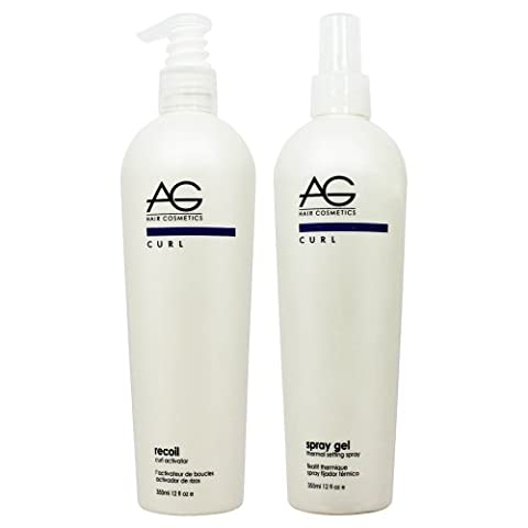 AG Hair Recoil Curl Activator & Curl thermal Setting Spray Gel 12oz Set by AG Hair Cosmetics (Recoil Curl-activator)