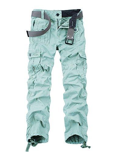 OCHENTA Herren Freizeithose Wasserwäsche Cargohose mehrere Tasche aus Baumwolle Loose-Fit #3380 Azur