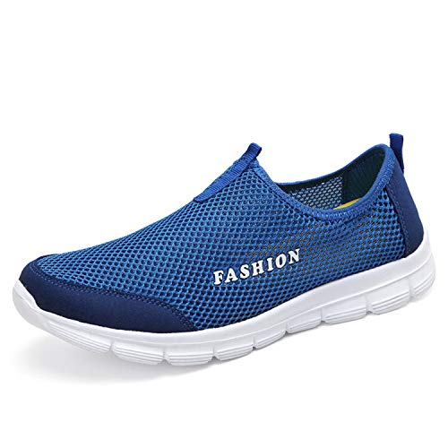 Men Casual Water Shoes air mesh Shoes Large Sizes 38-46 Lightweight Breathable Slip-on Chaussure Homme Blue 4.5 ()