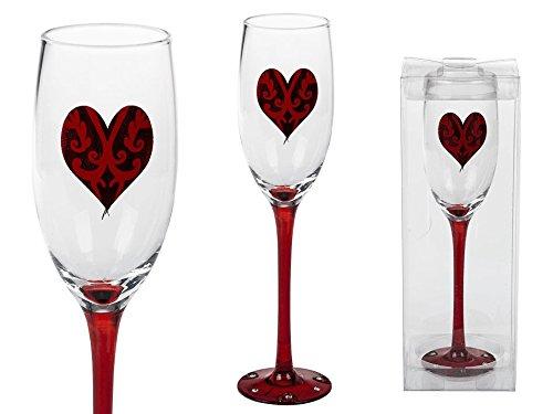 1 Sektglas mit rotem Herz roter Stiel & Boden, ca. 23 cm für Hochzeit , in PVC-Box -
