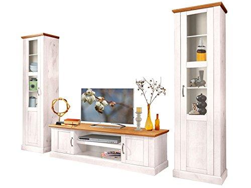 Wohnwand MISCHA (3 Tlg.) Wohnzimmerschrank TV Schrank Vitrine Kiefer Massiv  (weiß U0026 Honig) Günstig Bestellen