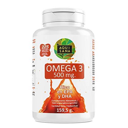 Omega 3-Aquisana| Complemento alimenticio de Aceite de Pescado |Alergenos: Pescado 225 Cápsulas...