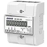 ORNO WE-520 Medidor De Consumo Electrico Trifásica Con Certificado MID 0.25a - 80a.3 X 230v/400v, 50/60hz, 800 Imp/kwh