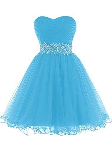 Dresstells, Mini/Court robe de cocktail Robe de demoiselle d'honneur emperlée bustier en cœur Bleu