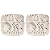 Generic 2 rollos de 125M 4 hilos trenzados cuerda de algodón 4 mm cable retorcido herramientas multifuncionales