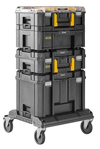 Stanley Fatmax - Sistema modular de almacenamiento (4 cajas para herramientas + plataforma con ruedas)