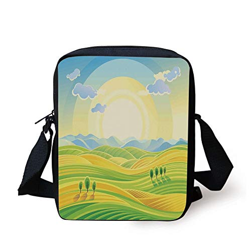 Farm House Decor,Sunny Rural Landscape with Rolling Hills Fields in Autumn Color Cartoon Art Print,Yellow Green Print Kids Crossbody Messenger Bag Purse -
