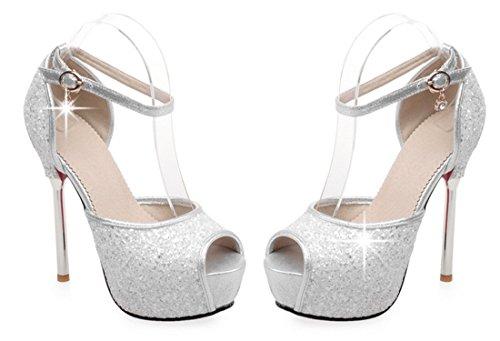 YE , Bride cheville femme Or - Blanc