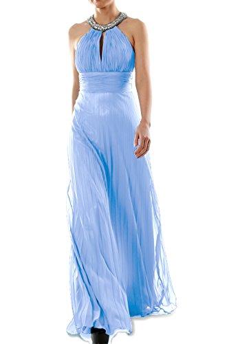 MACloth Women Crystal Halter Chiffon Long Prom Gwon Formal Evening Party Dress Himmelblau