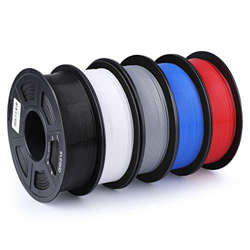 ELEGOO PLA Filament 3D Drucker 1,75mm 1kg Rolle für 3D Printer oder Stift ± 0,03mm Toleranz 5er Set
