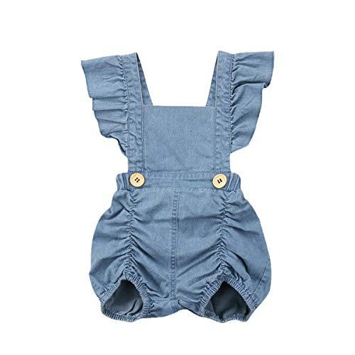 Kostüm Denim Overall - Aelle Infant Baby Girl Little Denim Kurzer Overall Trikot Ärmelloses Sommer Kostüm Overall (Blue, 0-6m)