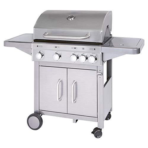 Profi Cook PC-GG 1181 Gasgrill inkl. Temperaturanzeige, Brenner + zusätzliche Kochstelle (4+1), 4 Heizzonen für indiv. Temperatursteuerung, großer Stauraum für 5 kg-Gasflaschen, Edelstahl, Silber (Eingebauten Weber Gas-grill)