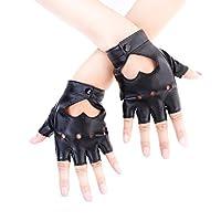 JISEN Women Heart Cutout Punk Half Finger PU Leather Performance Gloves Black