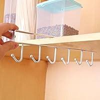 Utensilios de cocina para colgar estantería de almacenamiento armario para colgar gancho colgador organizador de en el pecho armario gancho estante soporte de plato Medium blanco