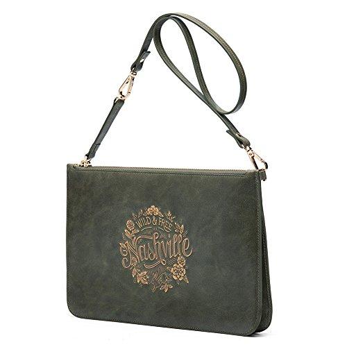 Damen-Kleine-Umhängetasche-Clutch-Leder-Brustbeutel-Damenhandgelenktasche-Häschen und Blumen-LÄNDISHKEIT (Grün) Grün