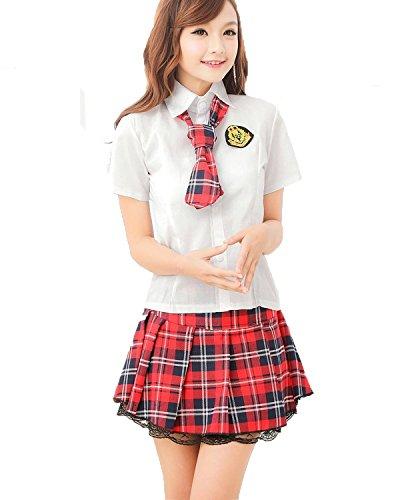 Tanzgruppe Kostüm - Sexy Klassische Japan Schuluniform-Kleid Uniform Kurzarm Anzug Hemd mit Pleated Skirt Cosplay Kostüm Mädchen School Lolita L