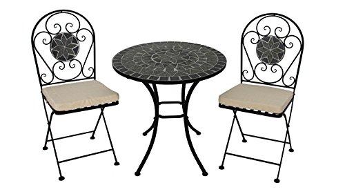 Lifestyle For Home Sitzgruppe 3-teilig marokkanischer Stil Mosaik grau Balkonmöbel Set auch für Wintergarten
