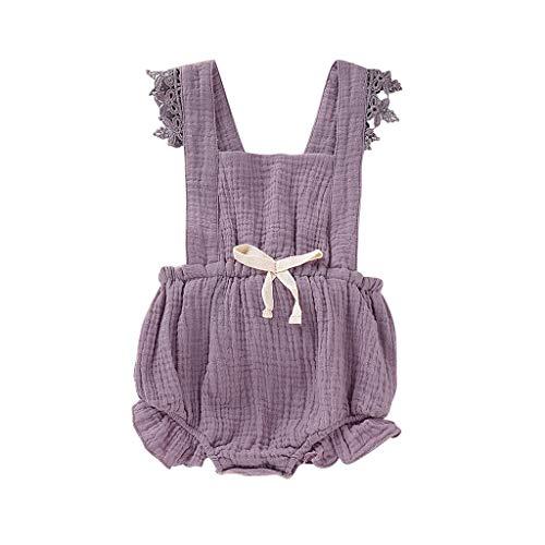 geborenes Süß Baby Mädchen Spitze Blumenspielanzug Ärmelloser Overall Lässig Bogen Gefaltete Kleidung Outfits Sommer Niedlicher (6M-24M) ()