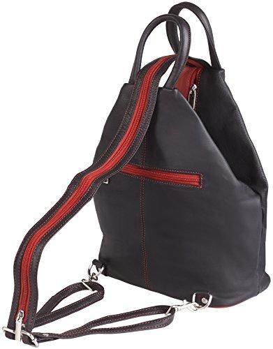 Zaino e borsa 2 in 1 felderberg Jolie in vera pelle bovina pieno fiore incredibilmente morbida, colore:Nero rosso-nero