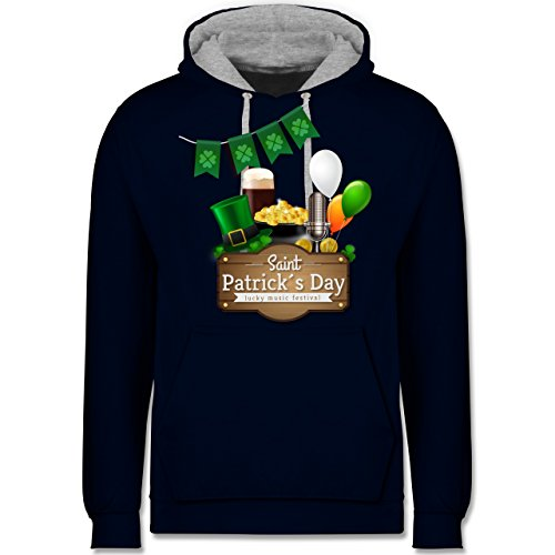 St. Patricks Day - Saint Patrick's Day Happy Music Festival - XL - Navy Blau/Grau meliert - JH003 - Kontrast Hoodie